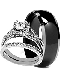 Charmant 3 Pieces Menu0027s And Womenu0027s, His U0026 Hers, 925 Genuine Sterling Silver U0026 Black