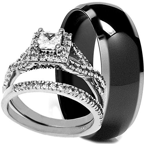 Charming Amazon.com: 3 Pieces Menu0027s And Womenu0027s, His U0026 Hers, 925 Genuine Sterling  Silver U0026 Black Titanium Band Engagement Matching Wedding Ring Set: Jewelry
