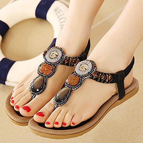 Inkach Women Summer Sandals Womens Fashion Sweet Beaded Clip Toe Flats Bohemian Herringbone Sandals Black xE4xexFc