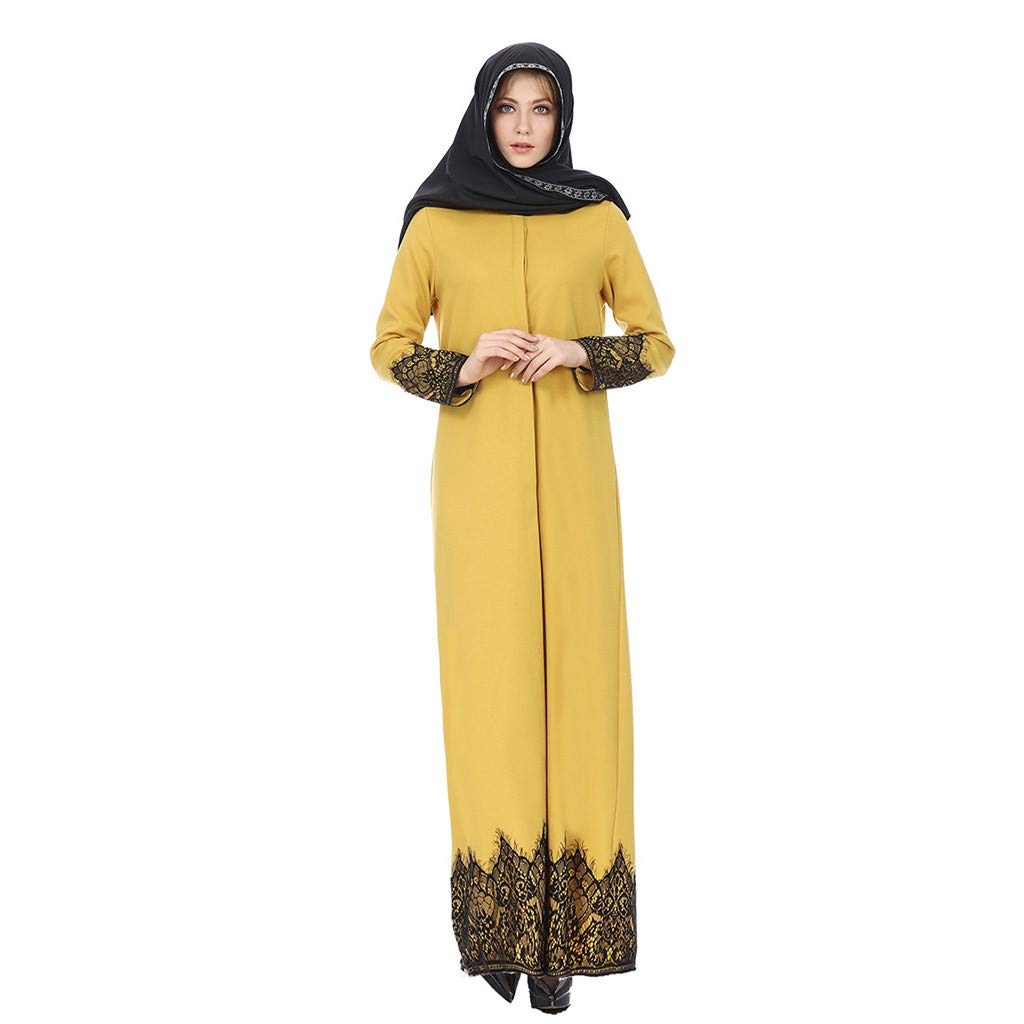 Buy Outtop Tm Women Muslim Dresses Full Buckle National Style Lace Robes Long Dress Islamic Arabic Abaya Kaftan Robe Caftan At Amazon In