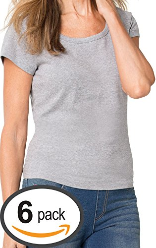 PajamaJeans Short Sleeve Womens T-Shirt - 6 Pack, Heather Gray, (Women High Quality T-shirt)