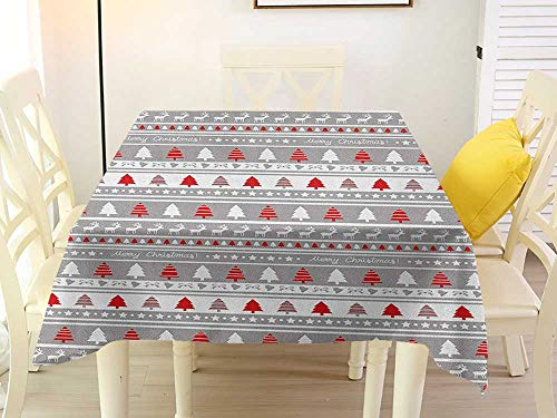 L'sWOW Square Tablecloth Elastic Christmas Xmas Border Deers Trees and Merry Christmas Lettering Bows Bells Image Grey White and Red Party 50 x 50 Inch
