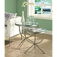Monarch Specialties Nesting Table Set with Tempered Glass, Satin Silver