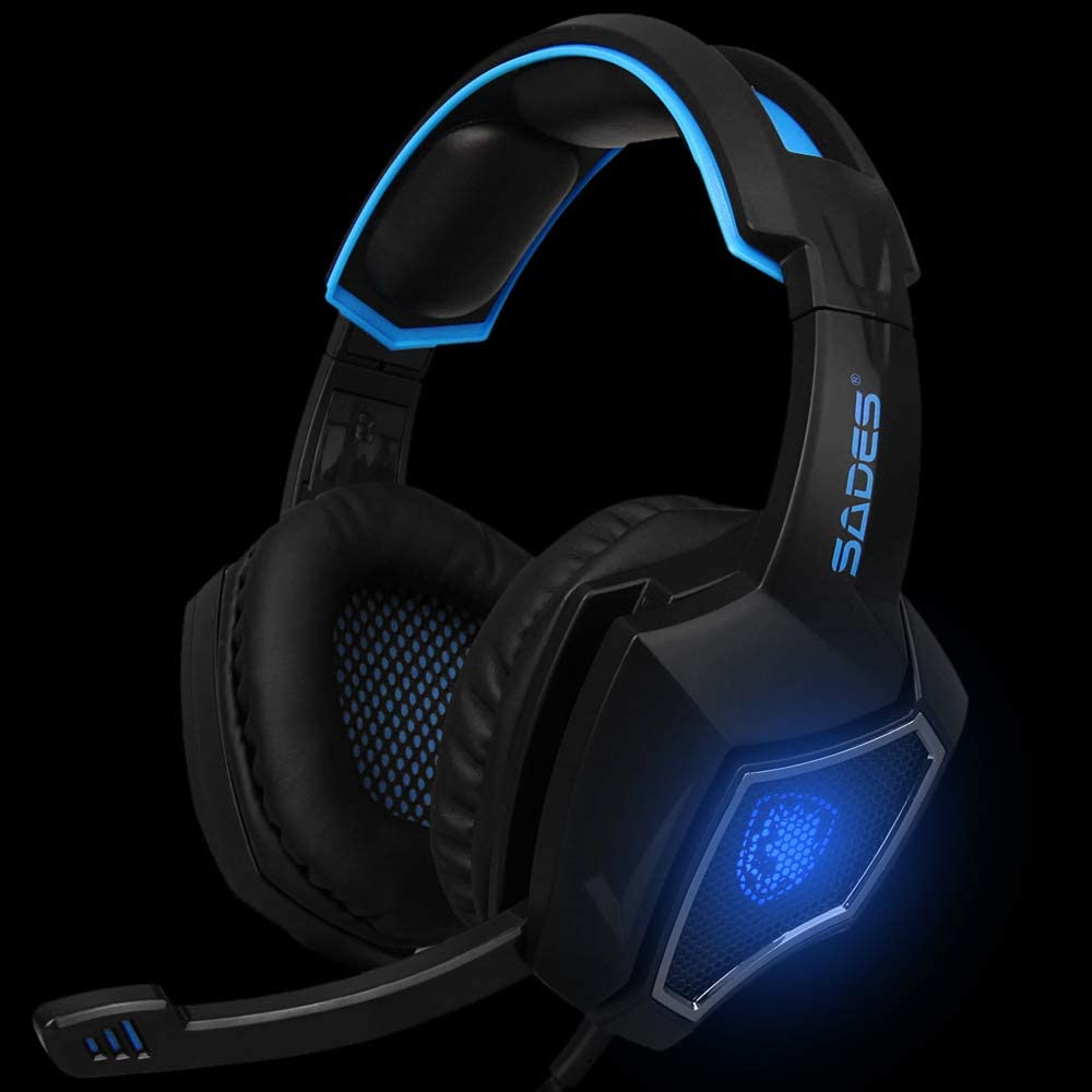 Docooler SADES R9 PC Gaming Headsets 3.5mm Wired Earphone Over Ear Game Headphone with Microphone LED Light Volume Control for PC