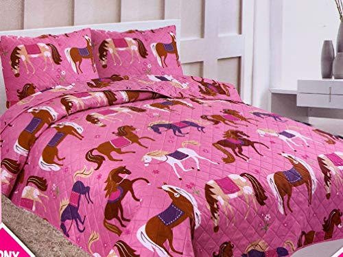- Sapphire Home 3 Piece Full Size Girls Kids Bedspread Coverlet Quilt Set with 2 Shams, Pony Horse Print Pink Girls Kids Bedding Set, Full Bedspread Pony