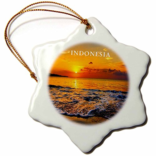 Bali Ornament (3dRose orn_80750_1 Sunset on Bali Indonesia Snowflake Porcelain Ornament, 3-Inch)