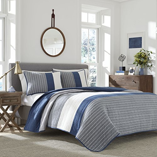Nautica Swale Quilt, Twin, Dark Blue