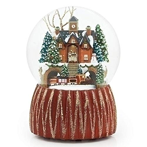 Roman 6.5'' Decorative Christmas Snow Building Dome with Train Revolving by Roman
