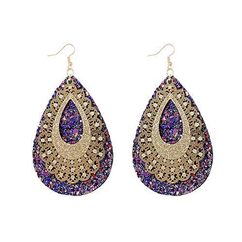Townshine Sequins Teardrop Leather Openwork Pattern Earrings Faux Leather Glitter Earrings 1Pairs (Drop-shaped earrings)