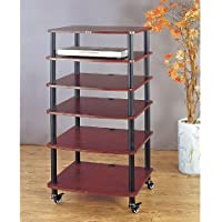 VTI AR406 6 Shelf Black Audio Rack - Black / Cherry