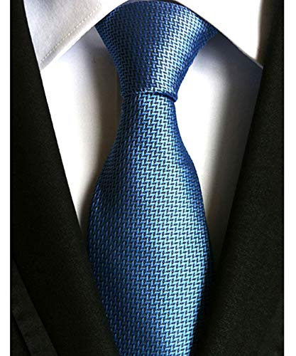 (Men's Classic Checks Blue Jacquard Woven Silk Tie Necktie)