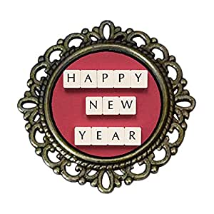 Chicforest Ancient Style Happy New Year Flower Pin Brooch