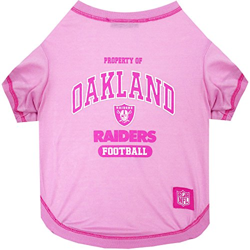 Pets First Oakland Raiders Pink T-Shirt, Large