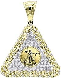 fb5ab1330e7 Mens Diamond Pendant 10K Gold Liberty Coin Cuban Link Triangle 1ctw by  Luxurman