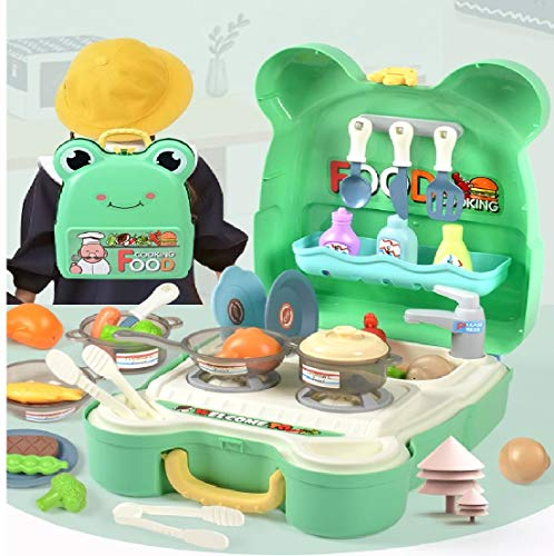 Toys Bhoomi Pretend Play Toy Kitchen Backpack for Kids, Play Food Role Play Toy with Double Strap, Cute Portable Carry…