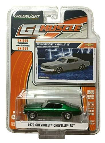 Greenlight Chase Green Machine 13170-C Muscle Series 17 1970 Chevy Chevelle SS Primer Grey 1:64 - Green Muscle Car Light