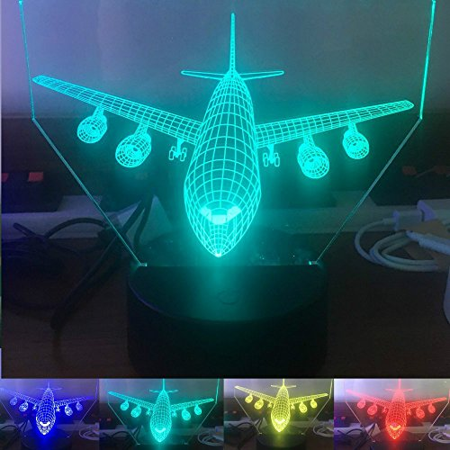 3D Abstract Plane Airplane Airbus Night Light Table Desk Optical Illusion Lamps 7 Color Changing Lights LED Table Lamp Xmas Home Love Brithday Children Kids Decor Toy Gift
