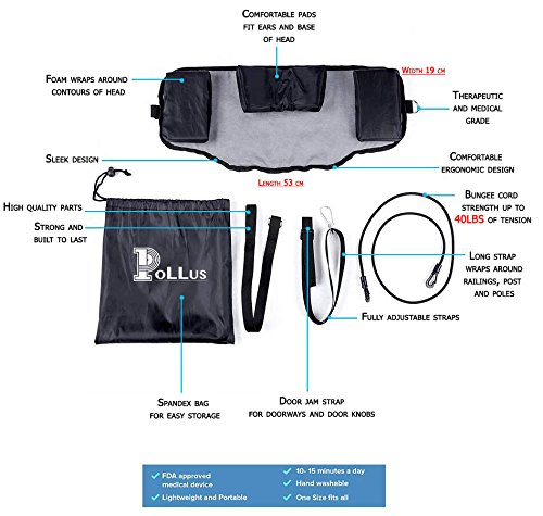 Neck Hammock: Light Weight, Portable, Therapeutic Tension Device with Carrying Bag and Straps Included - Gradually Stretches for Relief of Neck Pain- Great for Relaxation, Home, Office, and Travel by Pollus (Image #3)