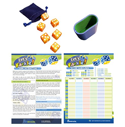 Funstructix Let's Farkle! Classic Dice Game (10000 Dice Game Rules With 5 Dice)
