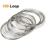Coolrunner 100 Loop Jewelry Wire, Memory Beading Alloy Wire Cuff Bangle Bracelet Jewelry Findings for Wire Wrap Jewelry Making Supplies(23 Gauge)