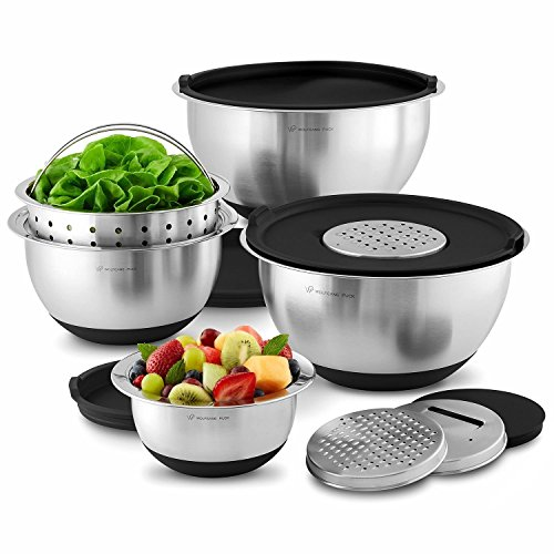 Wolfgang Puck 12 Piece Bistro Elite Stainless Steel Mixing Bowl and Prep Set, Includes Multi-Function Cover with Grating and Slicing Inserts, - Bowl 12 Piece