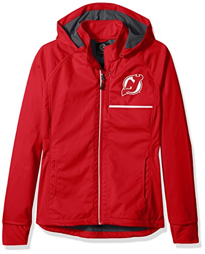 GIII For Her NHL New Jersey Devils Adult Women Cut Back Soft Shell Jacket, Medium, Red