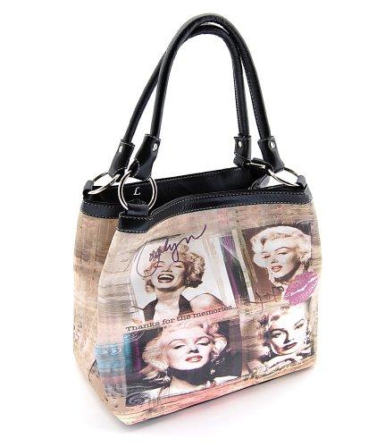 Marilyn Monroe Top Zip Shoulder Bag (Marilyn Monroe Medium Purse, Black, MM2123BK)