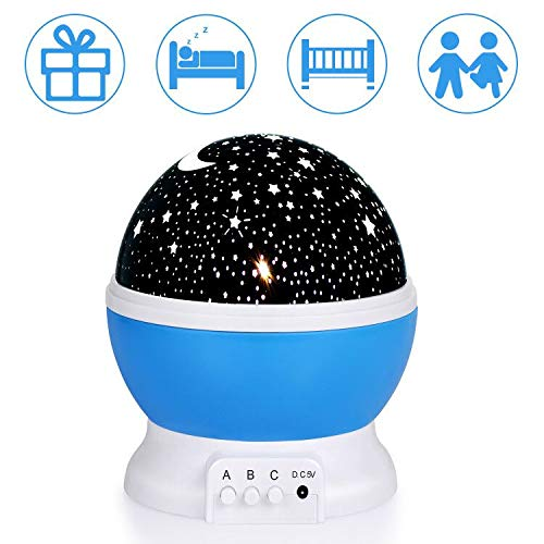 Night Light for Kids Star Light Projector Stars & Moon, 4 LED Bulbs, Color Changing-Christmas Gift