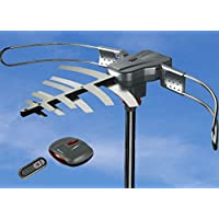 Able Signal Quick Assembly Amplified HD Digital Outdoor HDTV Antenna with Motorized 360 Degree Rotation, UHF/VHF/FM Radio with Infrared Remote Control