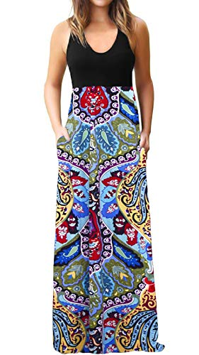 - ZANDZ Maxi Dress Womens Casual Sleeveless Tank Top Boho Floral Print Long Dress with Pockets (X-Large, Black Flower)