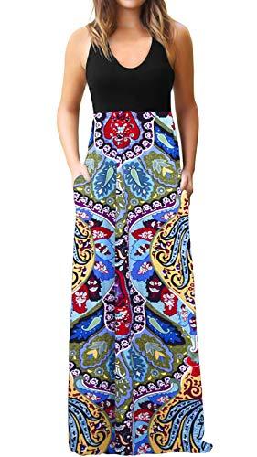 ZANDZ Maxi Dress Womens Casual Sleeveless Tank Top Boho Floral Print Long Dress with Pockets (Large, Black Flower)