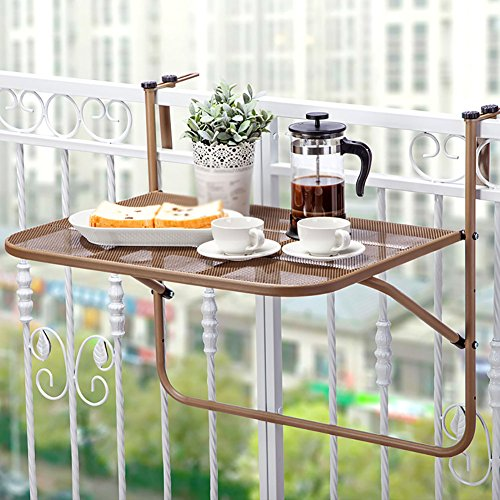 Aluminum Table Pot Rack Mounted - LQQGXLPortable Folding Table Wrought Iron Balcony Folding Shelf, Creative Wall-Mounted Flower Pot Rack, Leisure Table, (Color : Brown)