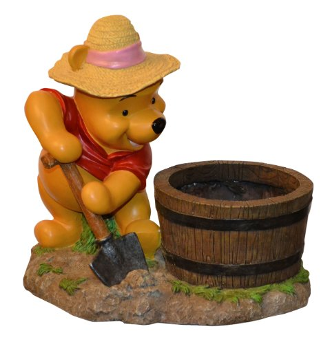 Woods International 4034 Winnie-the-Pooh Barrel Planter, 13-3/4-Inch by 10.375-Inch by 5.125-Inch