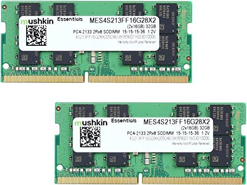 - Mushkin Essentials - DDR4 Laptop DRAM - 32GB (2x16GB) SODIMM Memory Kit - 2133MHz (PC4-17000) CL-15 - 260-pin 1.2V Notebook RAM - 2Rx8 Modules - Dual-Channel - Low-Voltage - (MES4S213FF16G28X2)