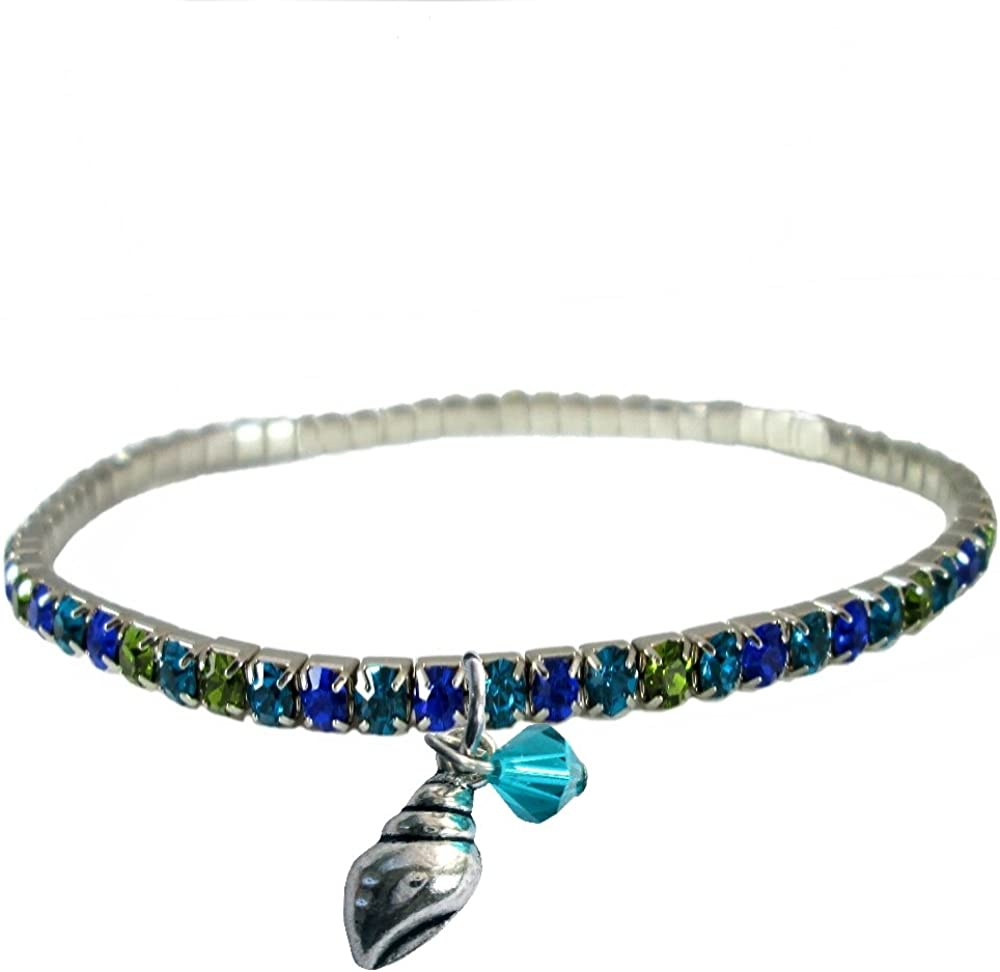 Sparkly Aqua Crystal 9 Stretch Anklet ~ Aqua High Heel Charm