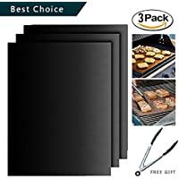 Grill Mat ,Hituus Set of 3 Non-stick Durable BBQ Grill & Baking Mats FDA Approved Reusable and Easy to Clean PFOA Free Works on Gas, Charcoal, Electric Grills Black/Copper