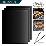 Grill Mat,Hituus Set of 3 Non-stick Durable BBQ Grill & Baking Mats FDA Approved Reusable and Easy to Clean PFOA Free Works on Gas, Charcoal, Electric Grills Black/Copper