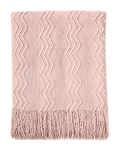 (Bourina Textured Solid Soft Sofa Throw Couch Cover Knitted Decorative Blanket, 50