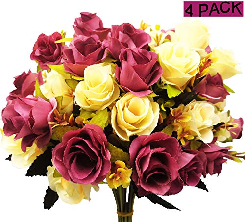 40 Heads Artificial Flower, European Silk Rose Dried Flowers, Arrangement Fake Flower Decoration Bridal Bouquet for Home Wedding Anniversary Party Cemetery Floral Decor Memorial Day Fall (Pack of 4)