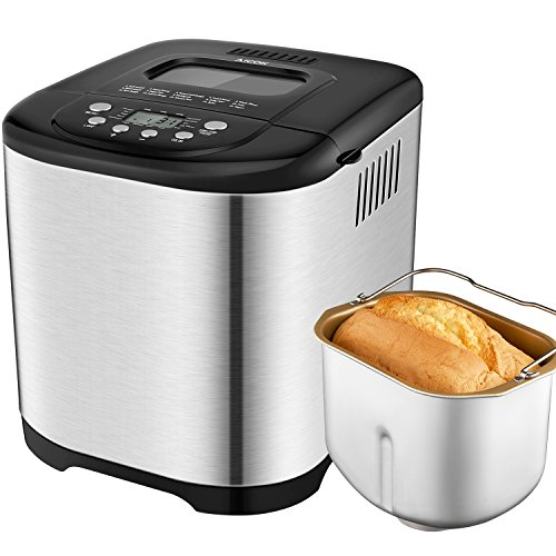 Bread Machine Aicok - 2.2LB Programmable Bread Maker Stainless Steel Housing with 15-Hour Delay Timer - 15 Program - Gluten Free Whole Wheat Breadmaker