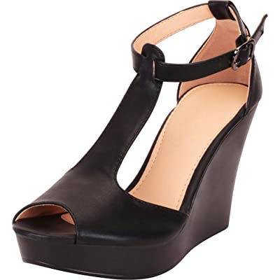Cambridge Select Women's Peep Toe T-Strap Chunky Platform Wedge Sandal: Shoes