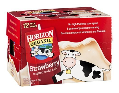 Horizon Organic Lowfat Milk Strawberry 12/8 FZ (Pack of 4) by Horizon Organic