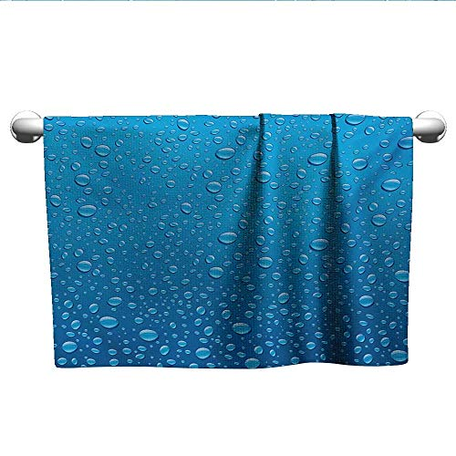 alisoso Rain,Kids Swimming Towels Water Drops on Glass Relaxing Ecology Purifying Symbol Fresh Water Monsoon Environment Image 3D Digital Printing Blue W 28
