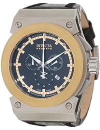 Men's Akula/Reserve Chronograph Black Textured Dial Black Genuine Leather