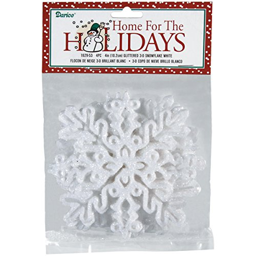 3d Snowflake Craft (Darice 1629-53 4-Piece 3-D Snowflake Ornament, 4-Inch, White)