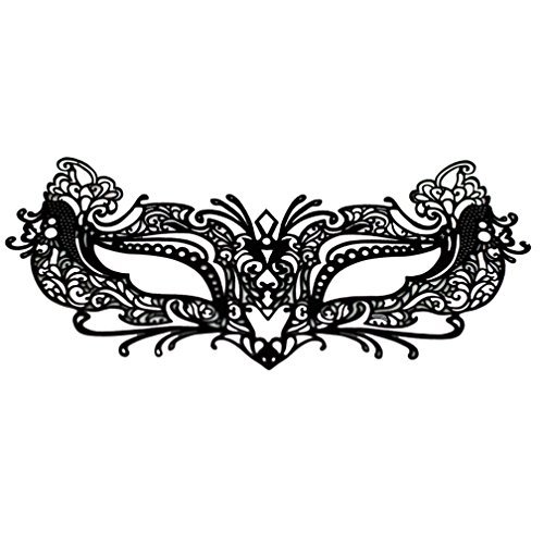 EMILYSTORES Self-Adhesive Flower For Woman Girl Garden Tattoo Black Lace Paper Lashes Upper and Lower Costume Party Halloween Black Venetian Pretty Masquerade Mask 1PC by ()