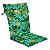 Outdoor Sling Back Chair Cushion in Back Bay Ocean, Bold Island Botanical Style with Palm Tree Design, Tropical Green and Blue Turquiose, 42'' L x 19'' W x 2'' H