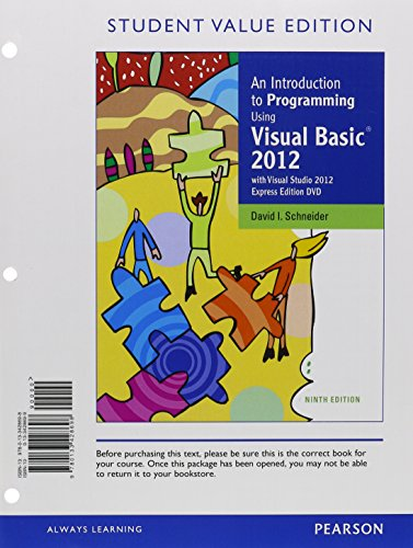 MyProgrammingLab with Pearson eText -- Access Card -- for Introduction to Programming Using VisualBasic 2012