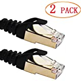 Ethernet Cable, Vandesail CAT7 LAN Network Cable RJ45 High Speed Patch Cord STP Gigabit 10/100/1000Mbit/s Gold Plated Lead for Switch/Router/Modem/Patch Panel (1m/ 3ft, Black-2pack)