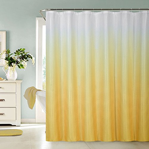 yellow and white shower curtain - 4